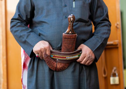 Saudi man wearing a jambyia dagger, Najran Province, Najran, Saudi Arabia