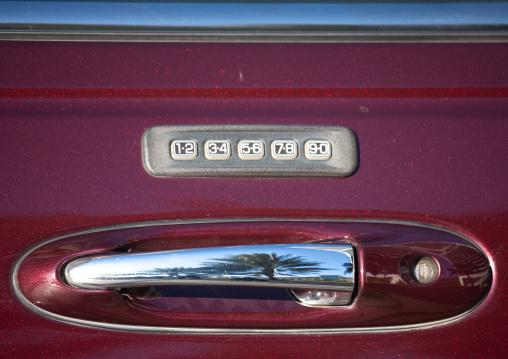 Locker with a code on a car door handle, Riyadh Province, Riyadh, Saudi Arabia