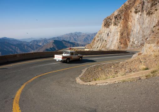 Car driving in the mountain road, Asir Province, Aseer, Saudi Arabia