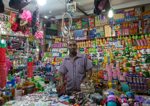 Somali vendor in a beauty shop in the market, Woqooyi galbeed region, Hargeisa, Somaliland