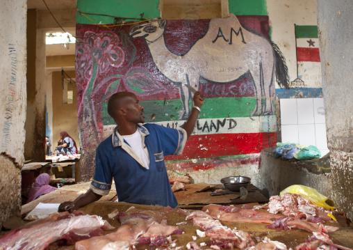 A camel meat vendor, Hargeisa market, Somaliland