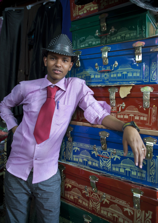 A Man With A Hat Is Standing In Front Of A Chest Vendor Stall, Hargeisa Market, Somaliland