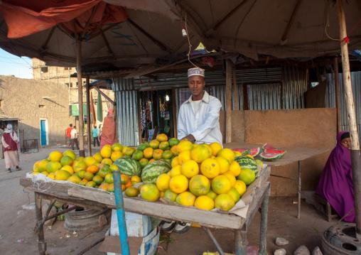 Somali man selling fruits in the street, Woqooyi Galbeed region, Hargeisa, Somaliland
