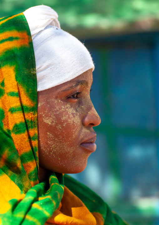 Portrait of a somali girl with qasil on her face, North-western province, Berbera, Somaliland