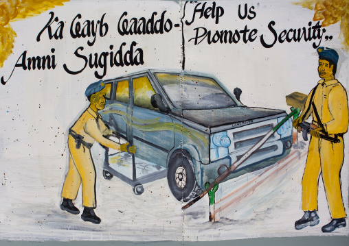 A Security Advice Painted Bilboard In The Entrance Of The City Plazza Hotel, Burao, Somaliland