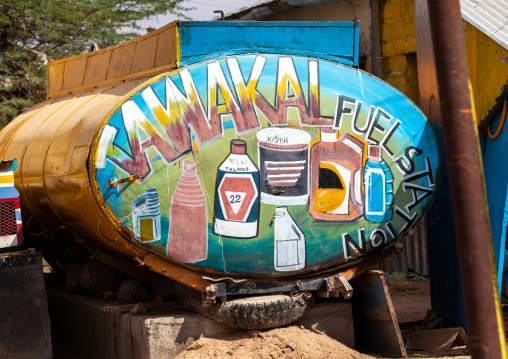 Painted advertisement on the back of a truck, Woqooyi Galbeed province, Baligubadle, Somaliland