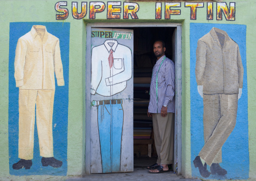 A painted advertisement for a tailor shop, Boorama, Somaliland