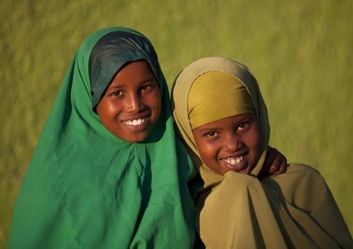 Portrait of teenage girls wearing green, Boorama, Somaliland