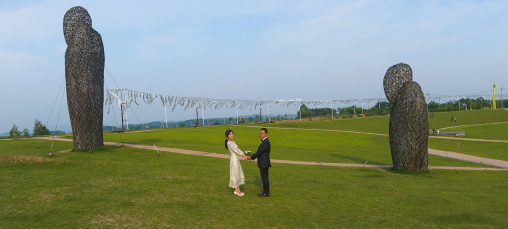 North korean defector joseph park with his south korean fiancee called juyeon in imjingak park, Sudogwon, Paju, South korea