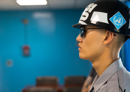 South Korean soldier in the joint security area on the border between the two Koreas, North Hwanghae Province, Panmunjom, South Korea