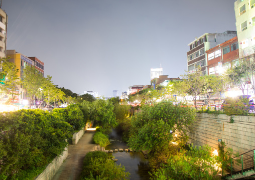 The banks of the Cheonggyechun stream at night, National Capital Area, Seoul, South Korea
