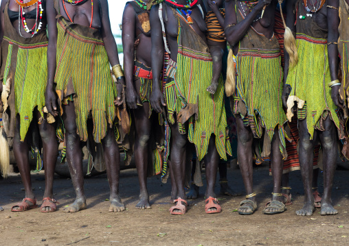 Toposa tribe women traditional skirts, Namorunyang State, Kapoeta, South Sudan