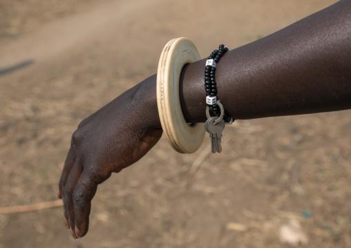 Mundari tribe woman with an ivory bracelet, Central Equatoria, Terekeka, South Sudan