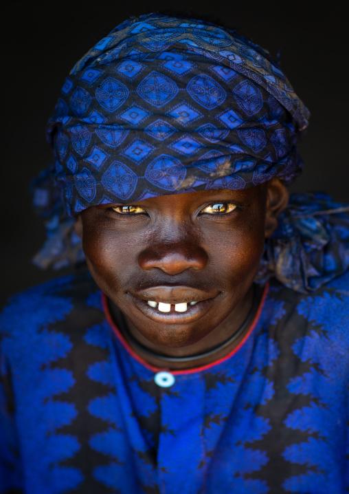 Portrait of a Mundari tribe boy with blue clothes, Central Equatoria, Terekeka, South Sudan