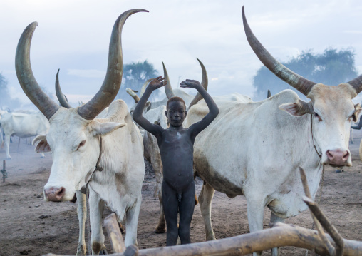 A Mundari tribe man mimics the position of horns of his favourite cow, Central Equatoria, Terekeka, South Sudan