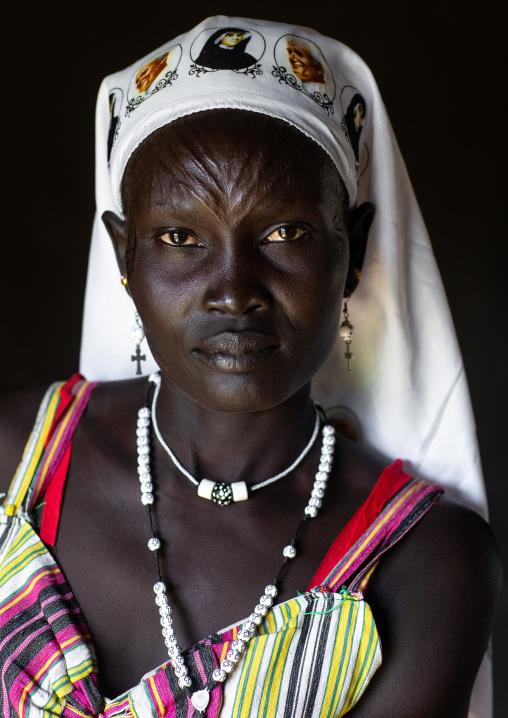 Portrait of a Mundari tribe nun with scarifications on the forehead, Central Equatoria, Terekeka, South Sudan