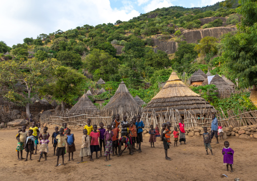 Lotuko tribe children in a village, Central Equatoria, Illeu, South Sudan
