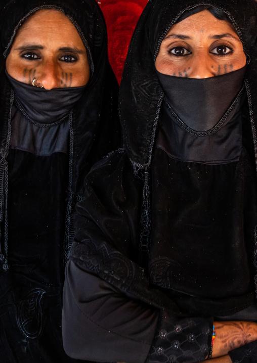 Portrait of Rashaida tribe veiled women inside a tent, Kassala State, Kassala, Sudan