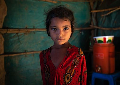 Portrait of a Rashaida tribe girl inside her house, Kassala State, Kassala, Sudan