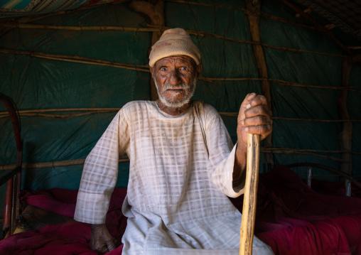 Rashaida tribe man inside his tent, Kassala State, Kassala, Sudan