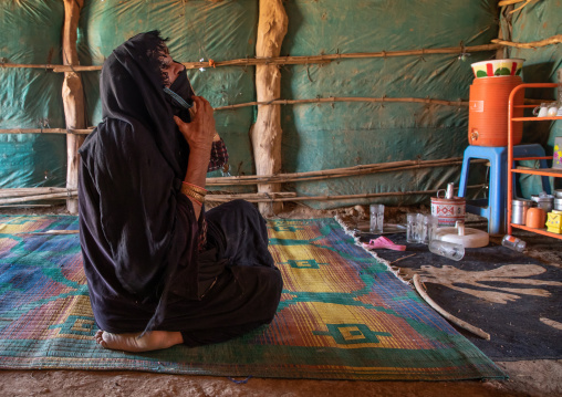 Rashaida tribe woman inside her tent, Kassala State, Kassala, Sudan