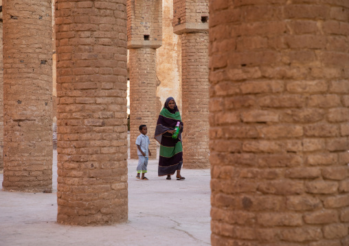 Sudanese mother and child in Khatmiyah  mosque prayer hall, Kassala State, Kassala, Sudan