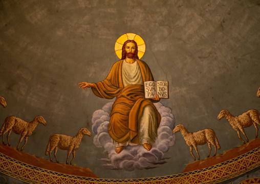 Jesus with sheeps fresco in st Matthew cathedral built by italian architects, Khartoum State, Khartoum, Sudan