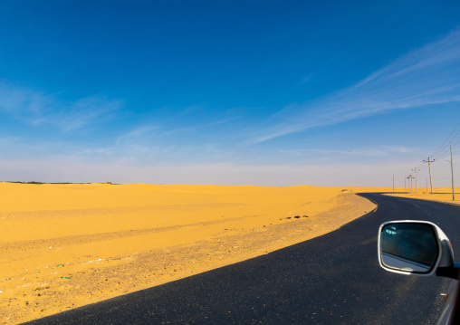 Asphalt road in the desert, Nubia, Old Dongola, Sudan