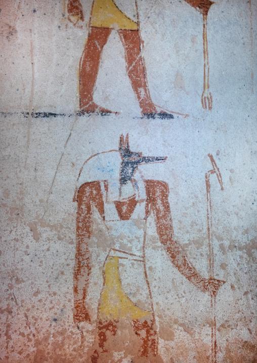 Protectors gods mural in the funeral chamber, Northern State, El-Kurru, Sudan