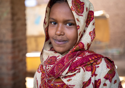 Portrait of a veiled sudanese girl, Northern State, Karima, Sudan