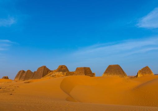 Pyramids of the kushite rulers at Meroe, Northern State, Meroe, Sudan