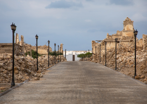 Renovated alley in the middle of ruined ottoman coral buildings, Red Sea State, Suakin, Sudan