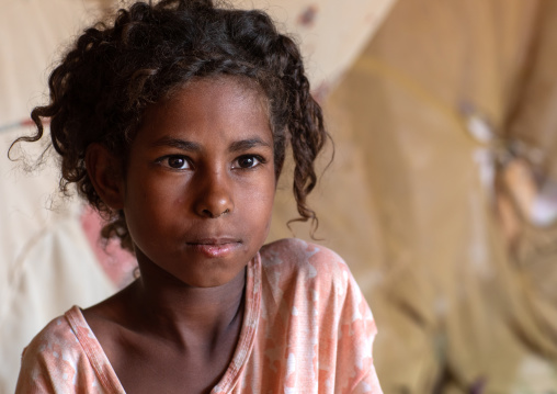 Portrait of a Beja tribe girl, Red Sea State, Port Sudan, Sudan