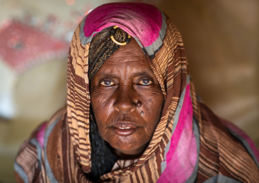 Portrait of a Beja tribe woman, Red Sea State, Port Sudan, Sudan