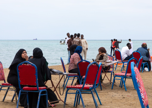 Sudanese people eating in a restaurant near the sea, Red Sea State, Port Sudan, Sudan