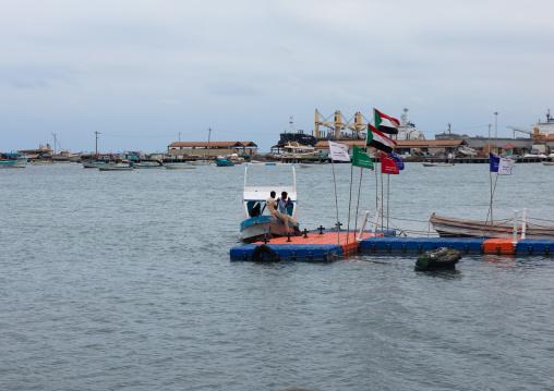 Sudanese men on the port, Red Sea State, Port Sudan, Sudan