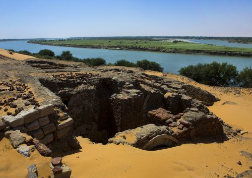 Sudan, Nubia, Old Dongola, the ruins of the medieval city of old dongola in front of river nile