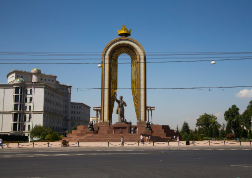 Statue of ismail samani as memorial, Central Asia, Dushanbe, Tajikistan