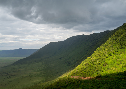 Tanzania, Arusha Region, Ngorongoro Conservation Area, clouds over the crater