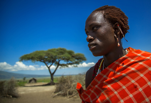 Tanzania, Ashura region, Ngorongoro Conservation Area, a maasai young moran warrior