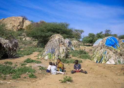 Tanzania, Serengeti Plateau, Lake Eyasi, hadzabe tribe traditional huts made with sisal agaves in a village