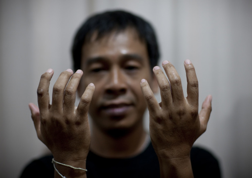 Hands of a massage man, Bangkok, Thailand