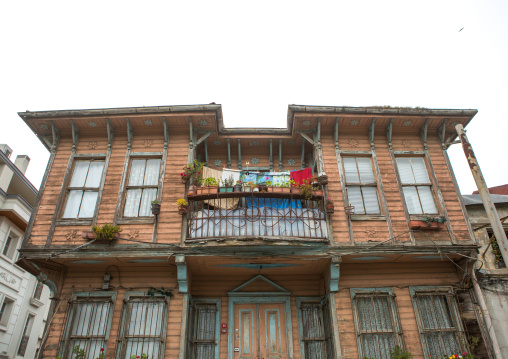 Old wooden style house with a balcony near the Bosphorus sea, Marmara Region, istanbul, Turkey