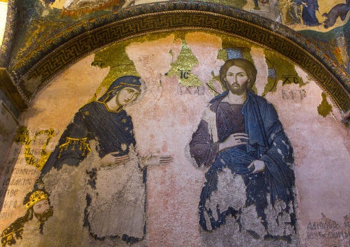 Mosaic in the esonarthex of the deesis which shows the virgin mary and john the baptist interceding with christ in the byzantine church of st. Savior in Chora, Edirnekapı, istanbul, Turkey