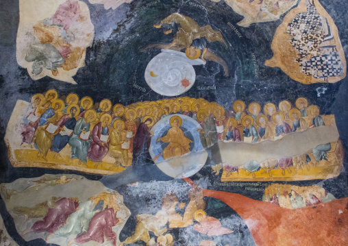 Fresco of the last judgment in the byzantine church of st. Savior in Chora, Edirnekapı, istanbul, Turkey