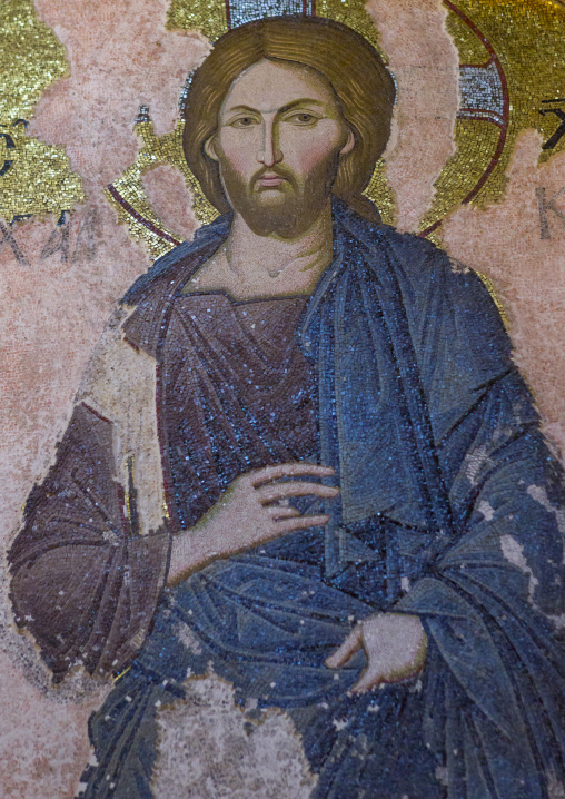 Icon of christ as part of a deesis in the byzantine church of st. Savior in Chora, Edirnekapı, istanbul, Turkey
