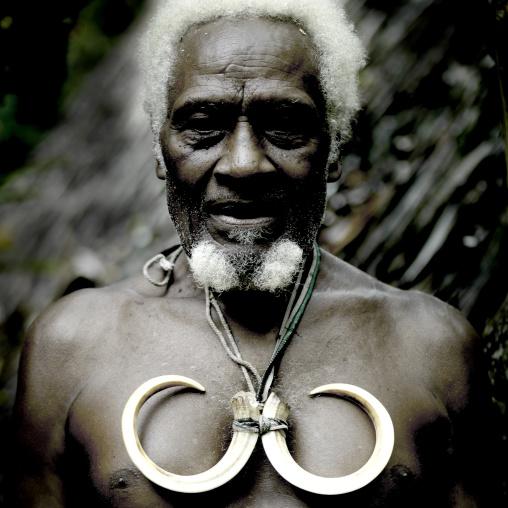 Portrait of chieftain Jean-Denis with wild pig tusks, Ambrym island, Olal, Vanuatu