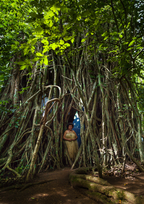 Woman in traditional skirt standing under a banyan tree, Efate Island, Port Vila, Vanuatu