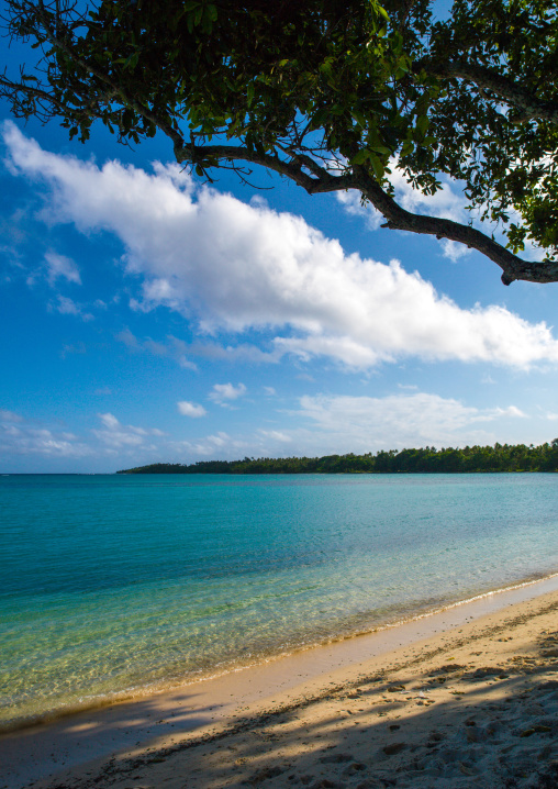 Turquoise water and white sand on a beach, Shefa Province, Efate island, Vanuatu