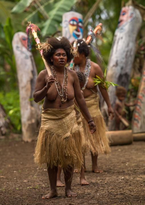 Small Nambas tribeswomen dancing in front of slit gong drums during the palm tree dance, Malekula island, Gortiengser, Vanuatu